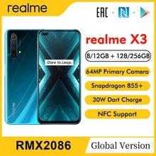 Realme x3 rmx2086 6.6 fffhd + 8/12gb 128/256gb 64mp snapdragon 855 + 120hz 60x superzoom 4200mah 30w dardo carga telefone móvel nfc