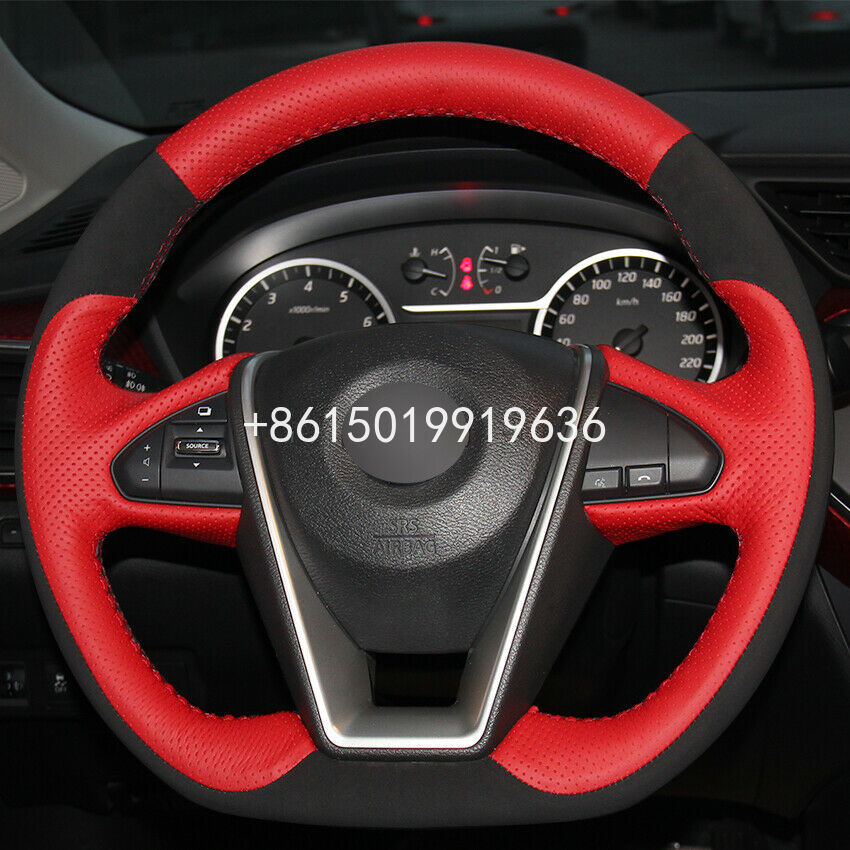 Red Leather Black Suede Car Steering Wheel Cover Wrap Cover Car interior decoration for Nissan Lannia 2015 Maxima 2016