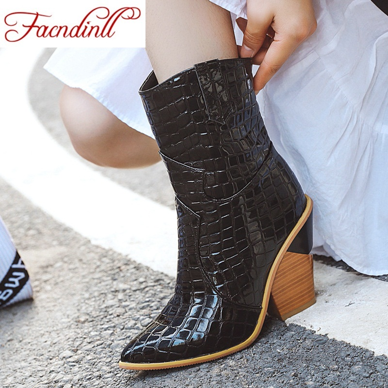 FACNDINLL 2019 fashion microfiber leather women ankle boots pointed toe western cowboy mid-calf chunky wedges