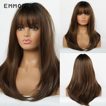 цена на Emmor Long Dark Brown Ombre Wavy Synthetic Hair Wigs with Bangs High Temperature Layered Fluffy Daily Wig for Women