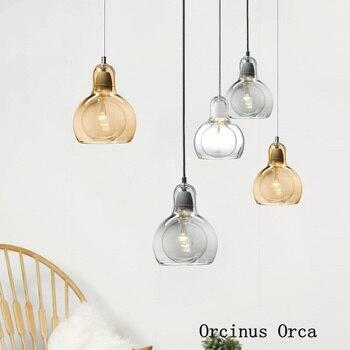 Postmodern Simple Glass Bulb Chandelier, Bar and Restaurant Corridor, Nordic Creative Grey LED Single Head Chandelier