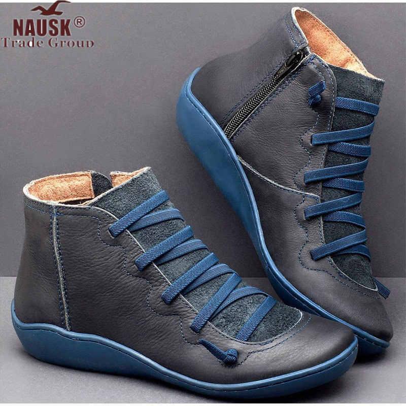 Yarım çizmeler kadın PU deri Zip Vintage bayanlar düz çapraz kayış kadın platform ayakkabılar kadın rahat kadın kısa çizmeler 2019