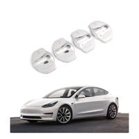 Otomobiller ve Motosikletler'ten Kapı Kilidi Koruyucu Kapak'de Model 3 kapı mandalı kilidi kapak iç aksesuarları paslanmaz çelik kapak paketi 4 adet Tesla modeli 3 2017 2018 2019 (gümüş)