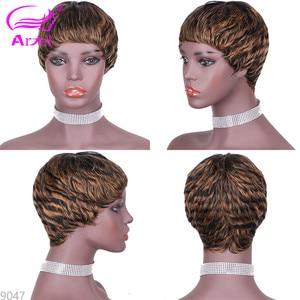 Image 3 - 27# Short Cut Straight Hair Wig Peruvian Remy Human Hair Full Wigs For Black Women F127# 4# 2# Brown Cheap Hair With Bangs Wig
