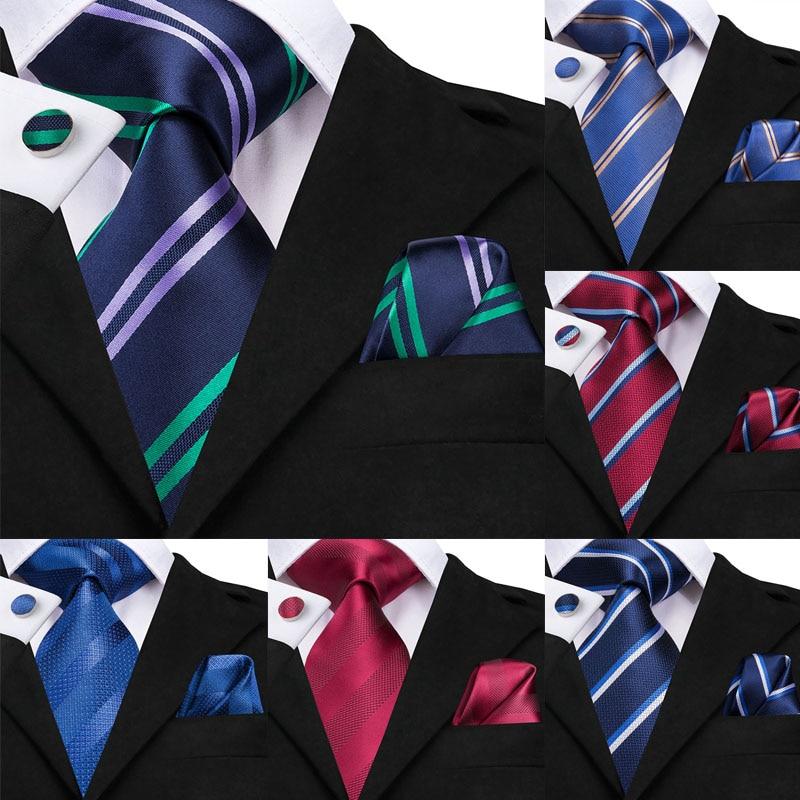 Hi-Tie Blue Ties For Men Stripe Tie Green Formal Necktie Twill Cravat Business Style Purple Tie Set For Party 8.5cm Dropshipping