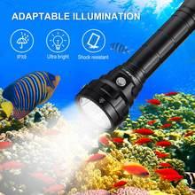 Lampe de plongée puissante et lumineuse DL40, 5000lm, torche sous-marine avec 4 * LH351D 90CRI 26650, 5000K