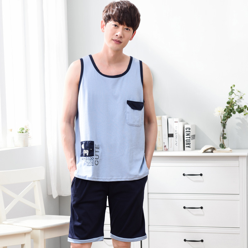 Men Summer Cotton Sleeveless Vest Pajamas New Cute Cartoon Knee Length Pants Casual Men Pajama Sets Pajama Set Men Sleepwear