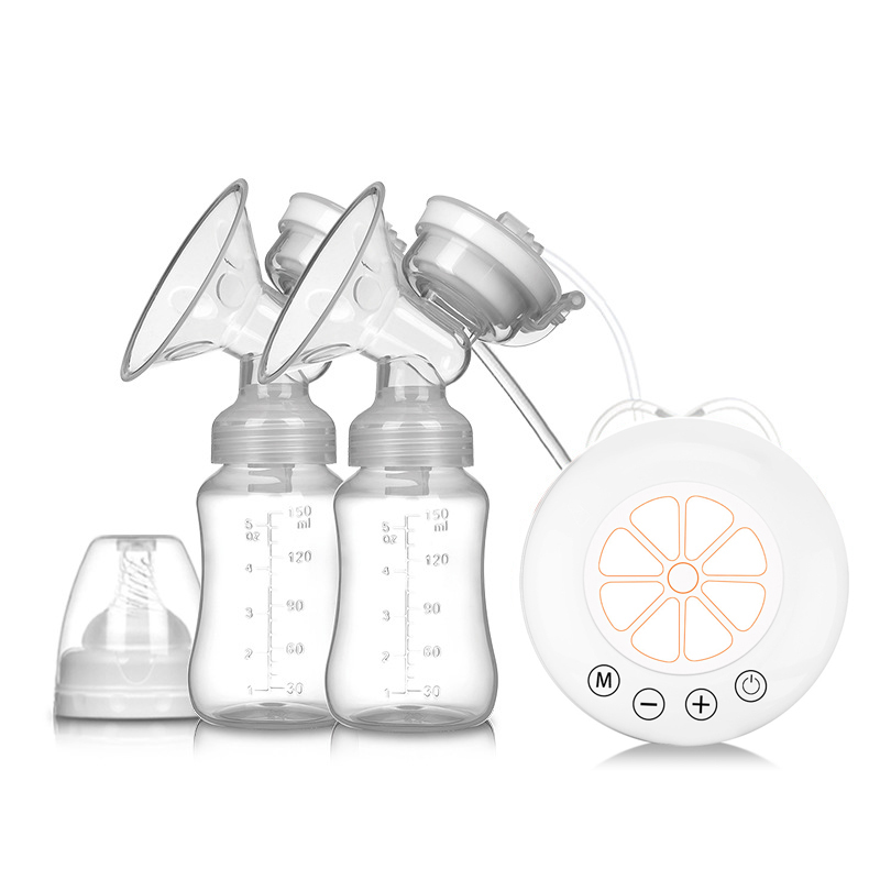 MMloveBB Electric Breast Pump with Double Milk Bottle and Adjustable Suction Levels for Breast Feeding