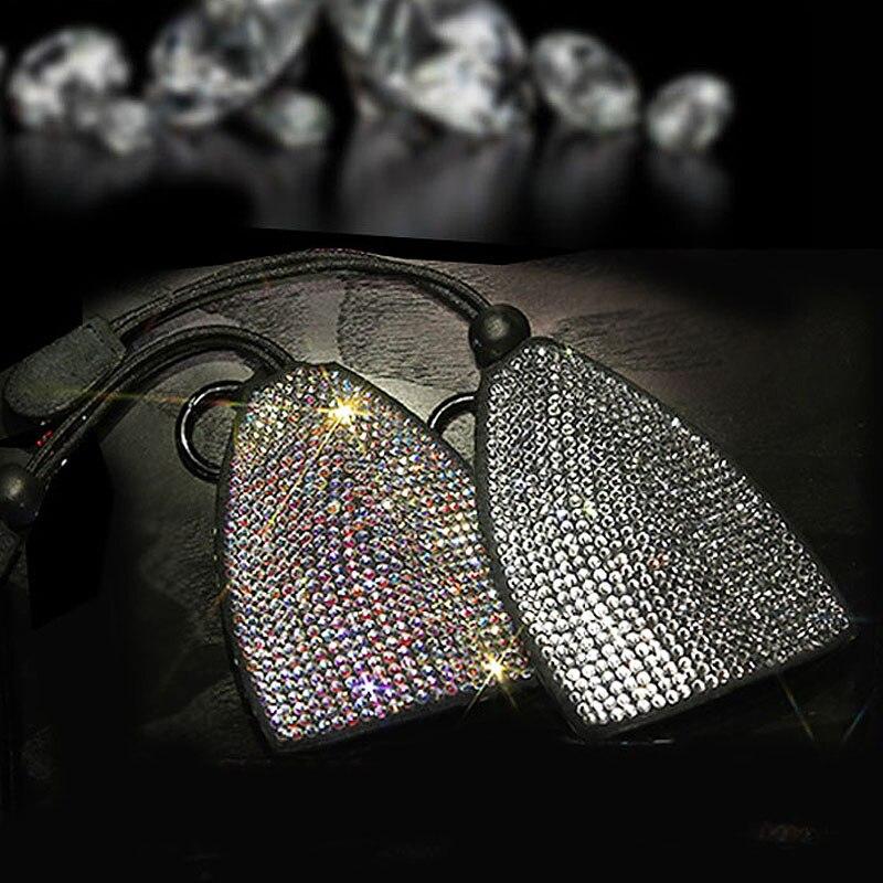 Fashion Colorful Rhinestone Car Key Case Bling Crystal Diamond Key Wallet Universal Size Girls Women Car Key Bag Purse Key Chain