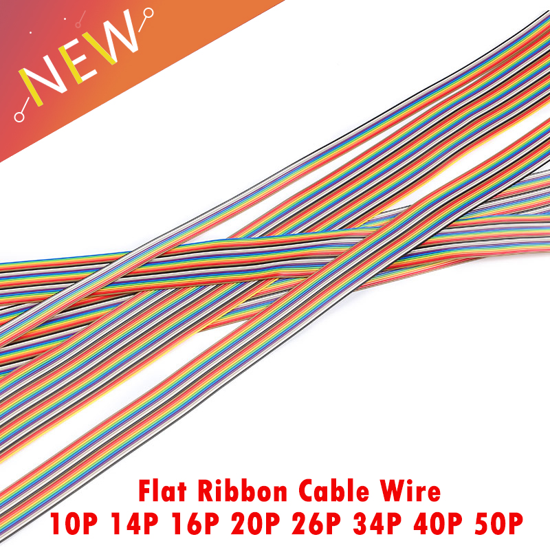 5 Meters 1.27mm PITCH color Flat Ribbon Cable 10P 14P 16P 20P 26P 34P 40P 50P Pin Rainbow WIRE for FC dupont Connector