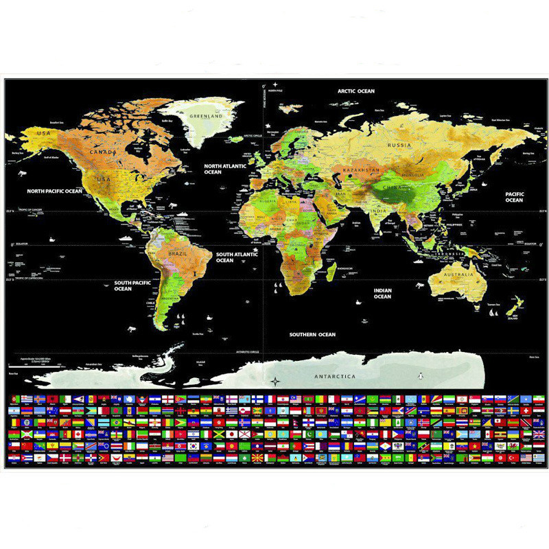 82.5X59.5cm Black World Travel Map Scratch Off Map Personalized Erase World Map Without Tube Creative Decoration Wall Stickers