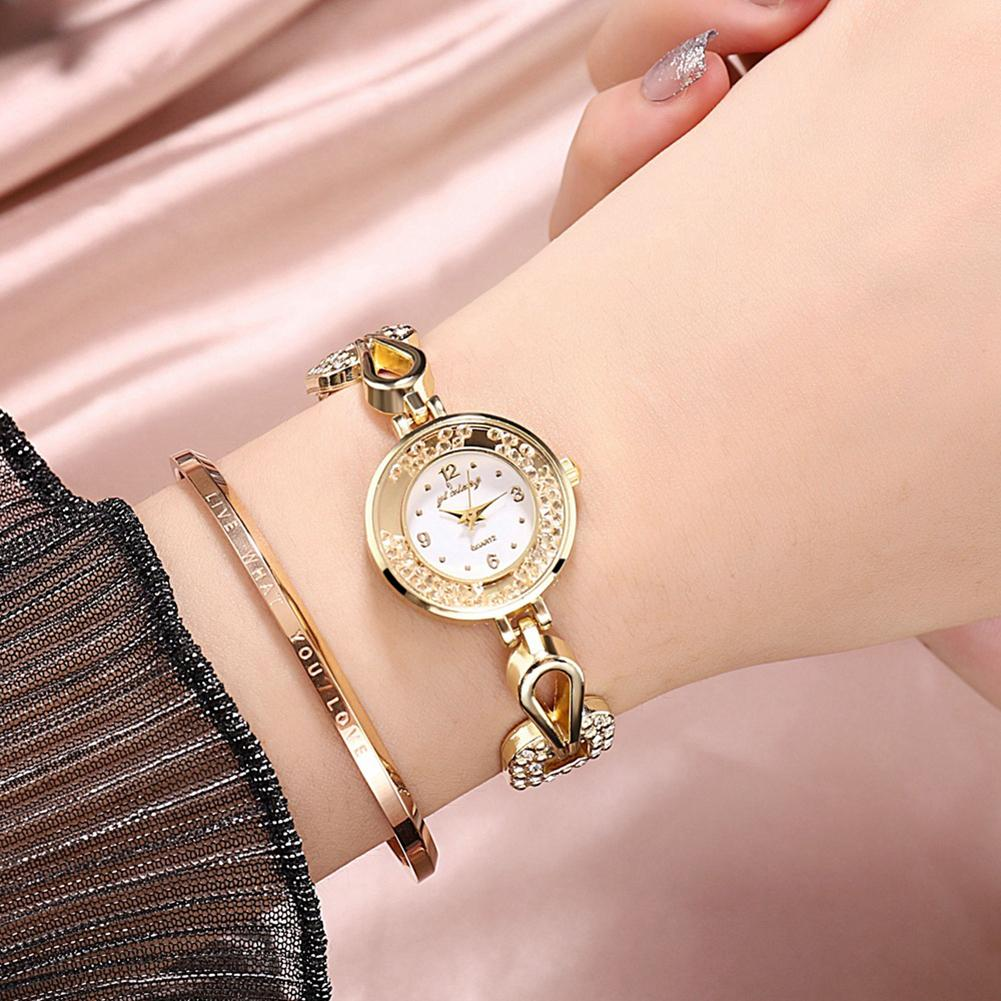 Lady Watches For Women Arabic Number Analog Quartz Wristwatch Women Wrist Watch Quicksand Rhinestone Alloy Band Watches