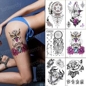 6 шт./лот, сексуальная временная татуировка, совы, цветы, черные кружевные узоры из хны, татуировки, индийские арабские, водонепроницаемые, по...