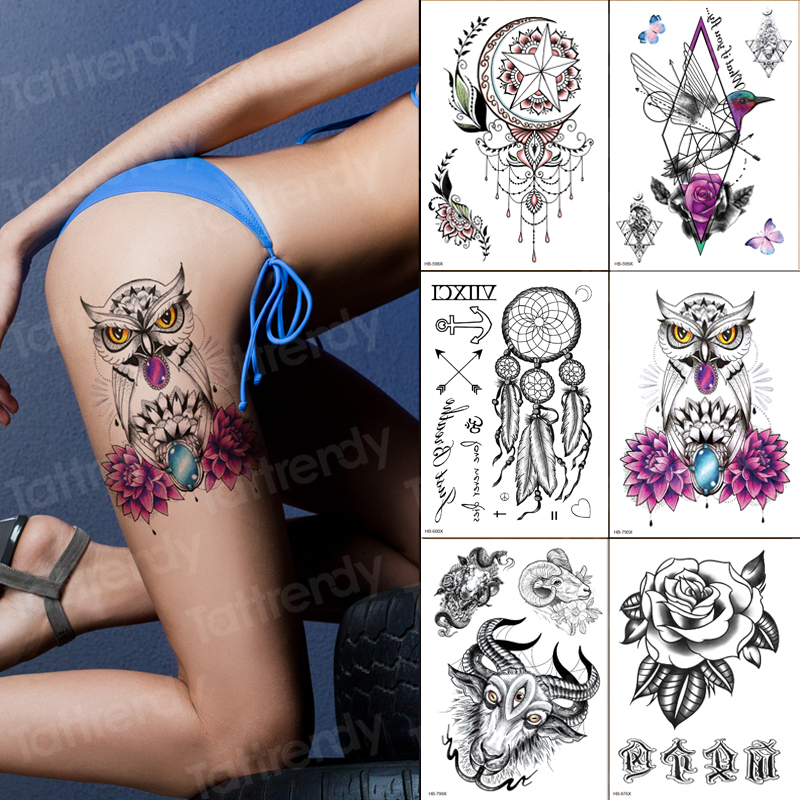 6pcs/lot Sexy Temporary Tattoo Owl Flower Black Henna Lace Tattoos India Arabic Waterproof Fake Tatoo For Girls Leg Body Sticker