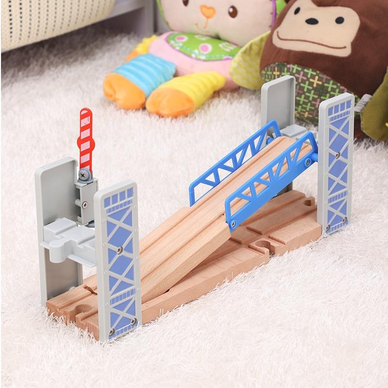 Wooden Fence Double Lift Bridge Bridge Overpass Wooden Train Tracks Railway Toys Set Accessories Overpass Model Kid's Toys Gifts
