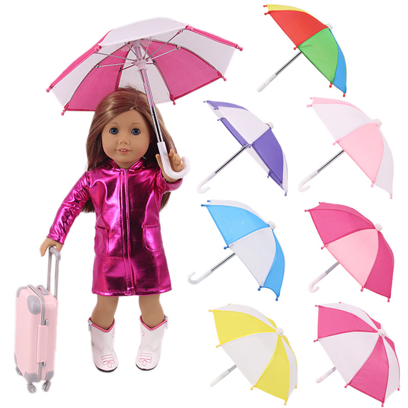LUCKDOLL Colorful Sunshade Umbrella Fit 18 Inch American 43cm Baby Doll Clothes Accessories,Girls Toys,Generation,Birthday Gift(China)