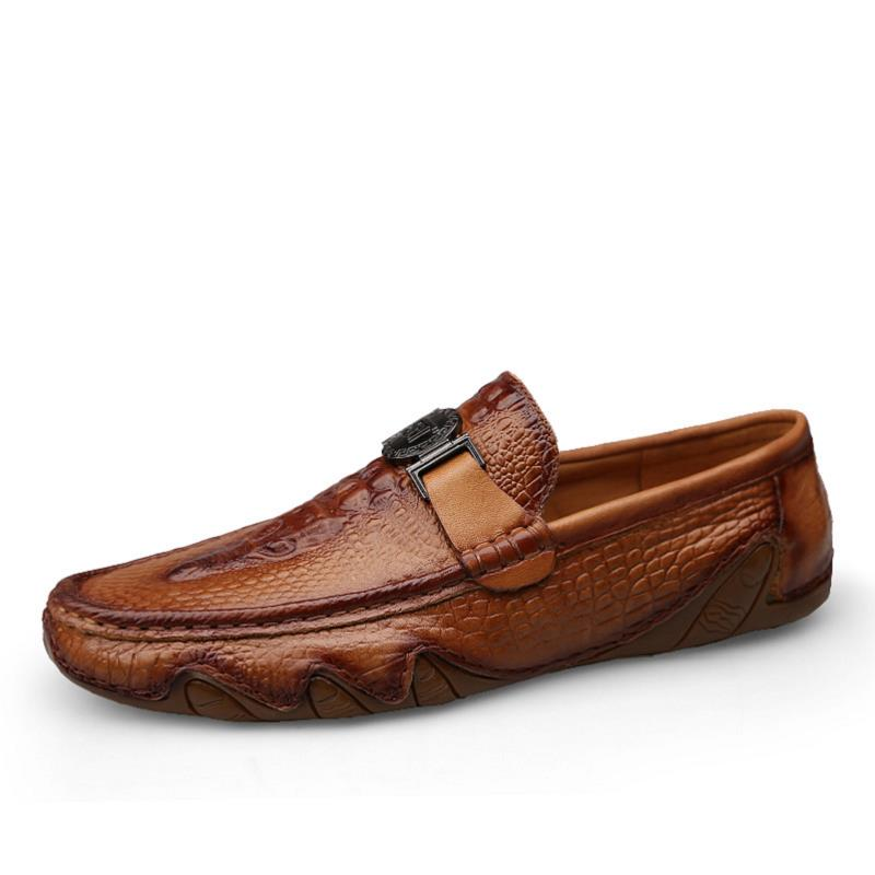 Luxury Crocodile Skin Loafer Shoes Men Genuine Leather Lightweight Slip-on Man Casual Shoes Handmade Leisure Soft Men Shoes