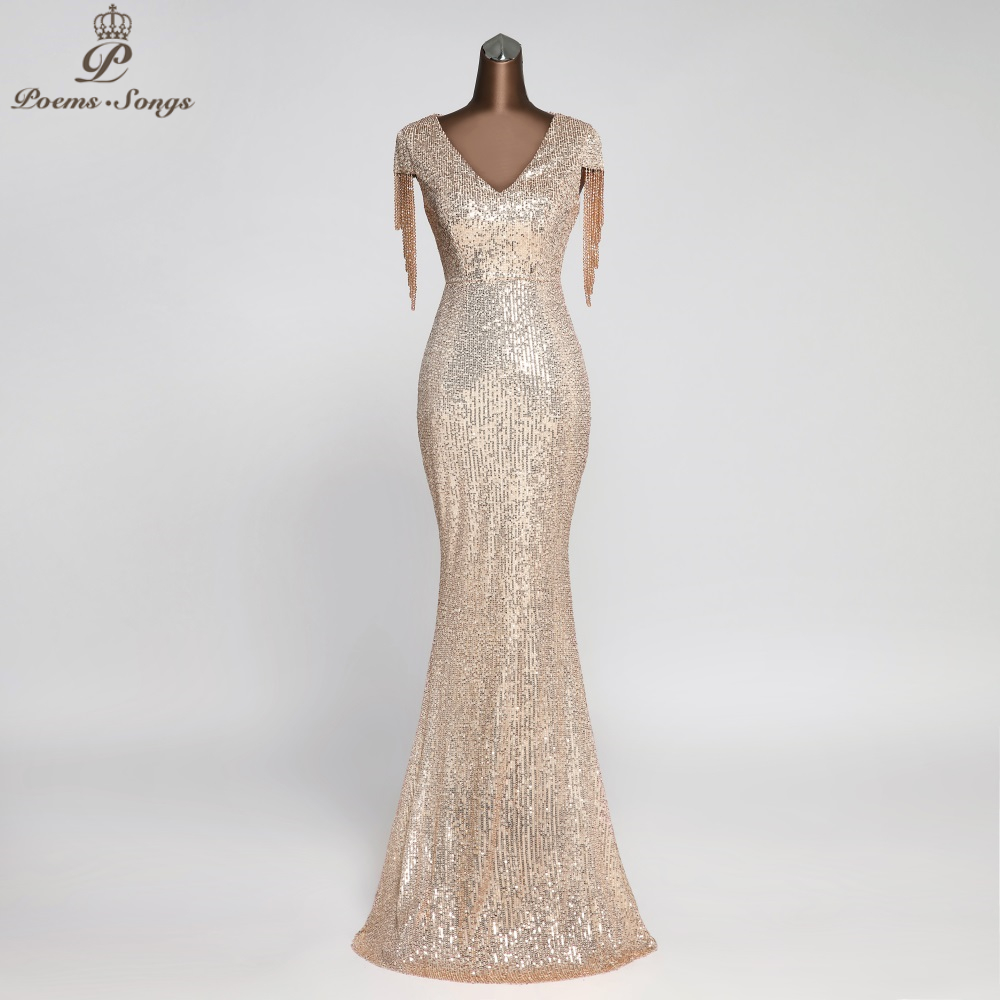 Elegant Sequin Evening Dresses Party Dresses Robe De Soiree Vestidos Evening Gowns Vestido Longo Festa Vintage Dress