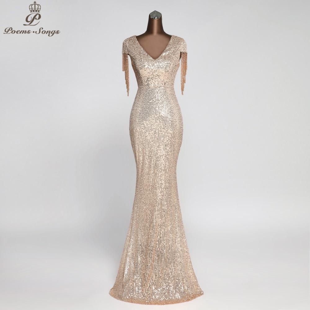 Elegant Sequin Evening Dresses Party Dresses Robe De Soiree Vestidos Evening Gowns Vestido Longo Festa Vintage Dress