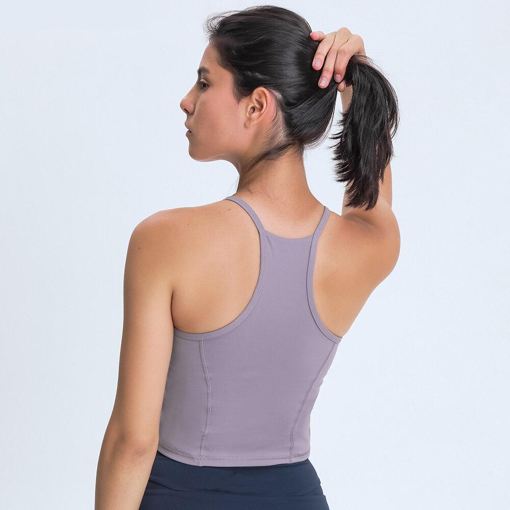 С высоким воротом однотонная Фитнес тренировки йоги кроп Топ Для женщин голая чувствовать себя с глубоким вырезом и для активного отдыха и развлечений топ-бюстгальтер спортивный бюстгальтер