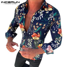 INCERUN Long Sleeve Men Shirt Casual Streetwear Floral Printed Turn-down Collar Camisas Hombre Slim Fashion Hawaiian Shirts 2019(China)