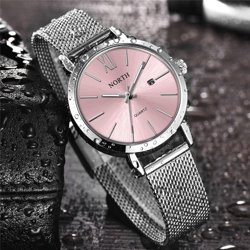 2020 Роскошные брендовые северные женские часы, модные женские кварцевые часы со стальным браслетом под платье, женские водонепроницаемые ча...
