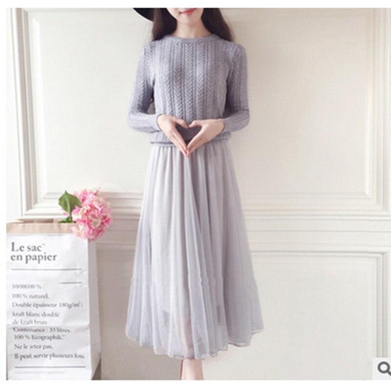 Autumn Sweater Dreess Women Elegant  Long Sleeve  Knitted Sweater Winter Dress Women Office Casual Mesh Stitching  Long Dress