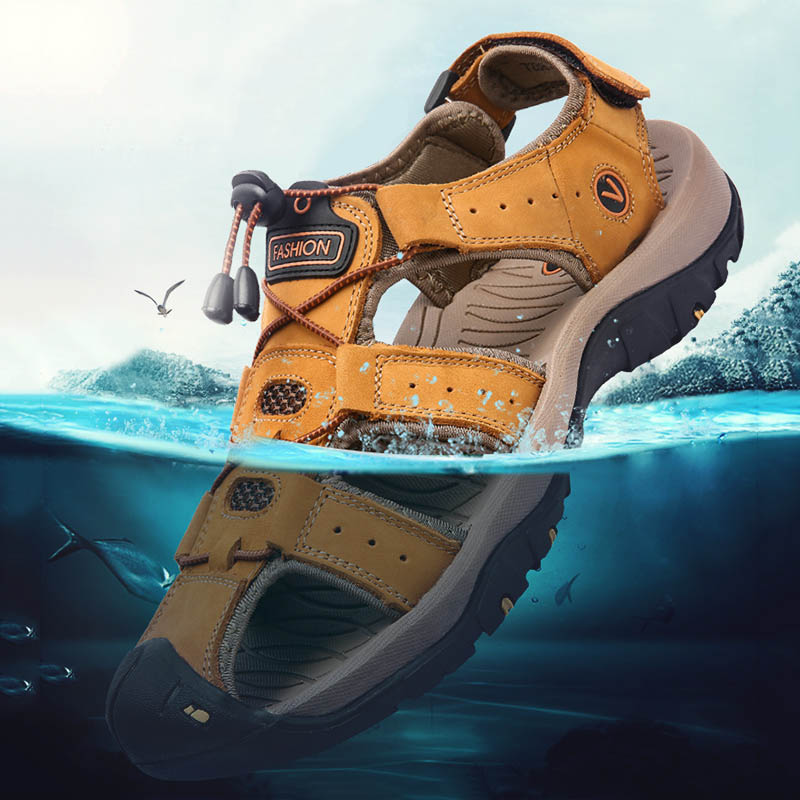 Summer Men Hiking Sandals Outdoor Leather Mountain Trekking Sports Sneakers Anti-skid Breathable Aqua Shoes Water Beach Sandals