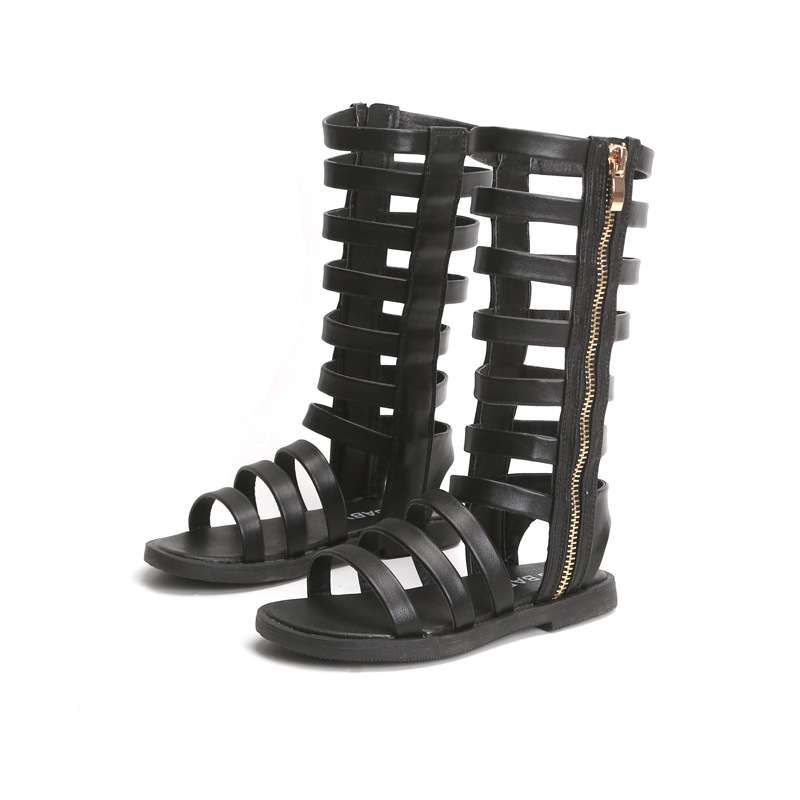 2020 New Real Leather Girls Sandals Suede Leather Children Roman Sandals Bow Female Boots Kids Gladiator Sandals Size 26-37