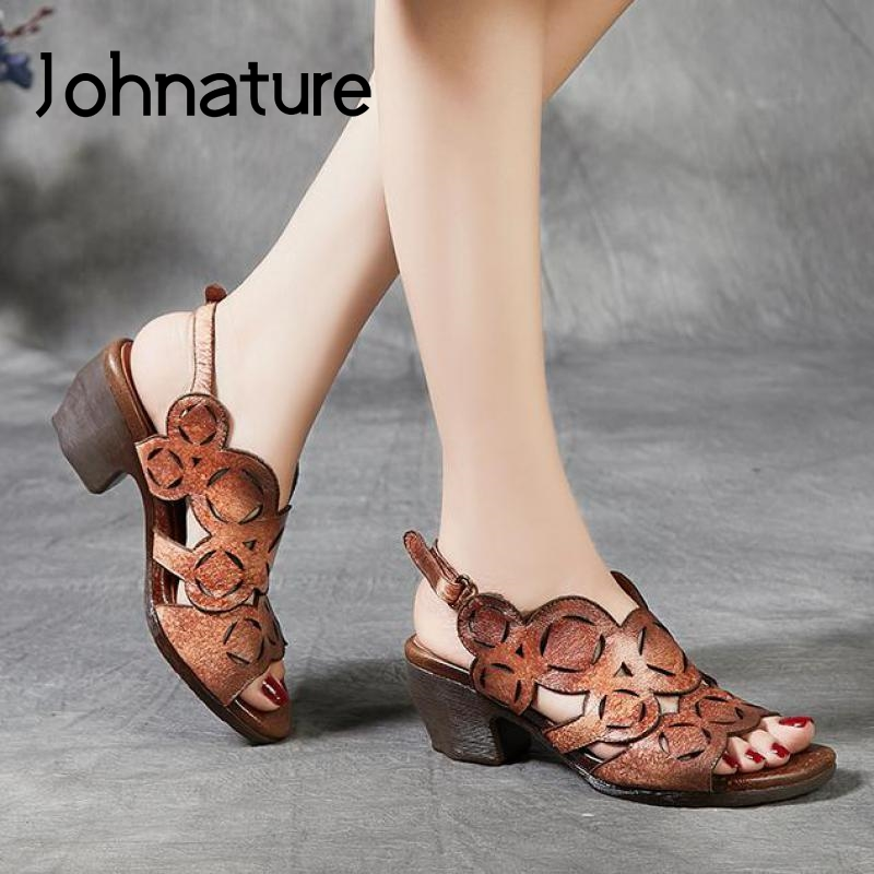 Johnature Retro Casual High Heels Sandals Women Shoes 2020 New Spring Summer Genuine Leather Hook & Loop Platform Ladies Sandals