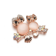 Animal Bird Owl Brooche Christmas Gifts Corsage Two Owls Brooch Pins Suit Retro Brooches For Women Vintage Best Gift
