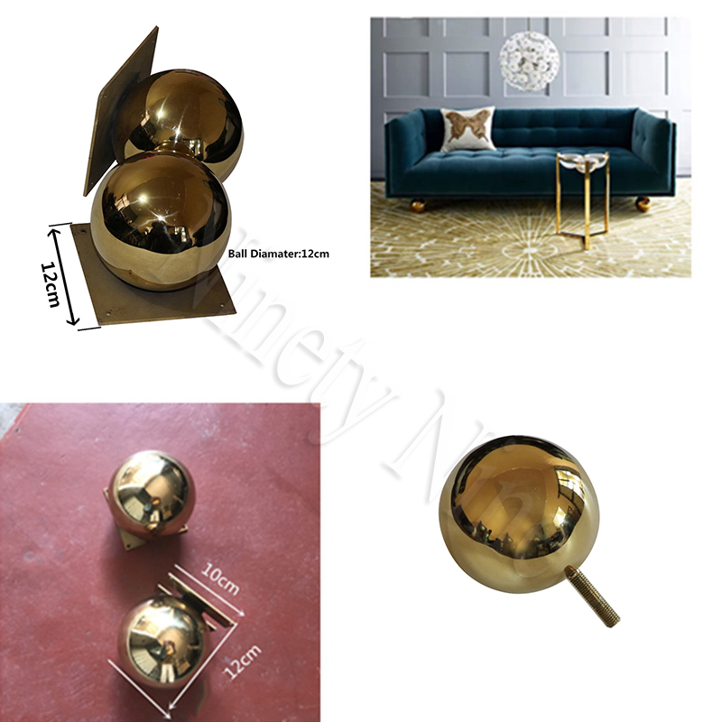 2Pcs/Lot Gold Furniture TV Cabinet Sofa Ball Feet LegGolden ball sofa leg round metal hollow ball hardware feet