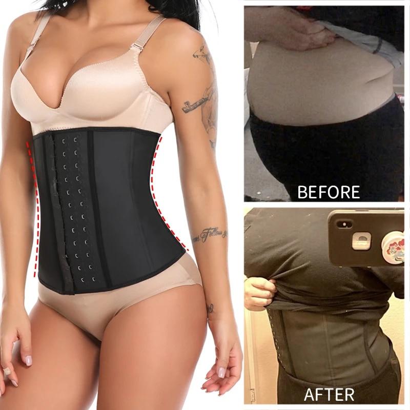 Women/'s Underbust Latex Waist Trainer Cincher Slim Trimmer Long Torso Sweat Belt