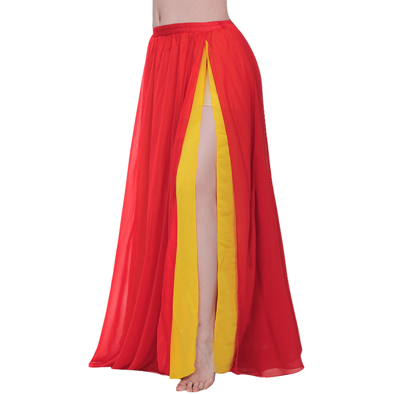 2 Layers Dancewear Double Colors Women Belly Dance Clothing Side Split Full Circle Long Skirt Chiffon Bellydance Skirt