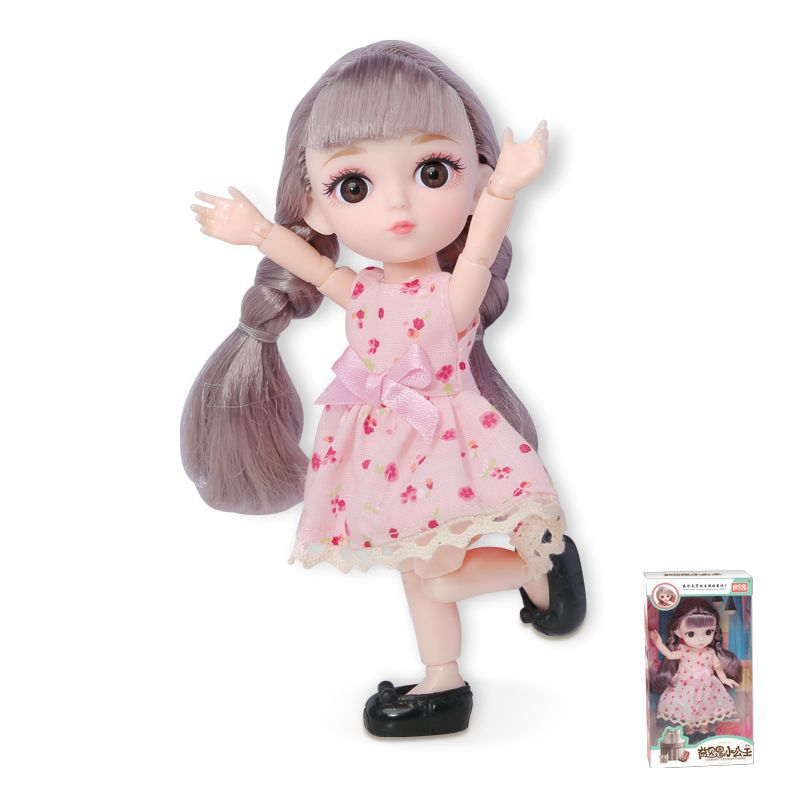 16cm/31cm Bjd Doll 12 Moveable Joints 1/12 Girls Dress 3D Eyes Toy with Clothes Shoes Kids Toys for Girls Children Birthday Gift 15
