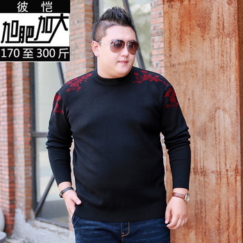 Men Plus Fat Plus Size Round Neck Comfortable Long Sleeve Knitting Shirt Extra Large Size Thickness Keep Warm Sweater