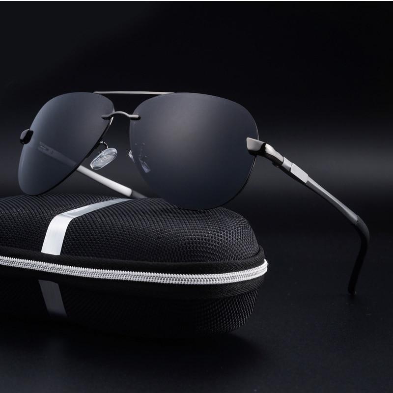 Men Polarized Driving-Glasses Frame Rimless Metal UV400 with Box Black/brown Come