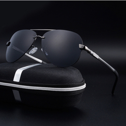 Rimless Men Polarized Sunglasses Black/Brown Metal Frame UV400 Driving Glasses Come With Box