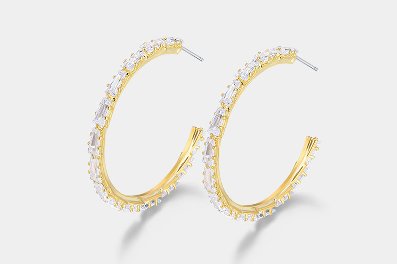 JIAN Simple Metal Circle Hoop Earrings Bling Crystal Gold Color Fashion Brand Jewellery for Women Geometric Ear Accessories