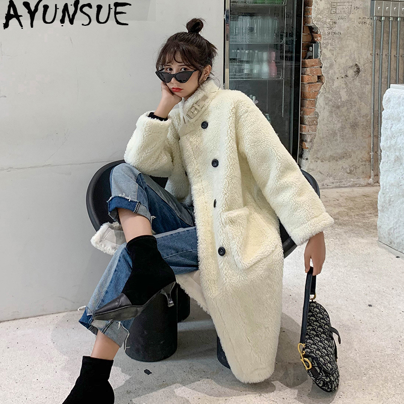 AYUNSUE 2019 Winter Women's Fur Coat Korean Long Faux Fur Jacket Loose Overcoat Furry Coat Manteau Fourrure Femme 1668 KJ3608