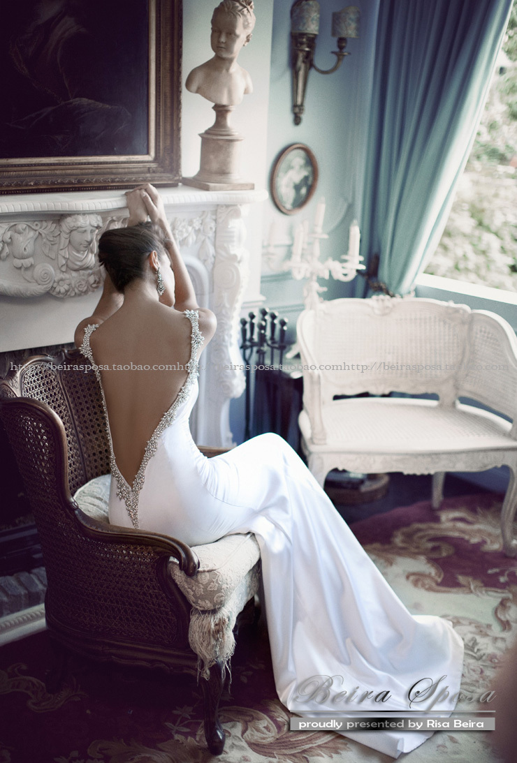 Free Shipping Hot&sexy Backless 2016 New Fashion Crystal Vestidos De Novia Romantic Long Hot Mermaid Wedding Dresses Bridal Gown