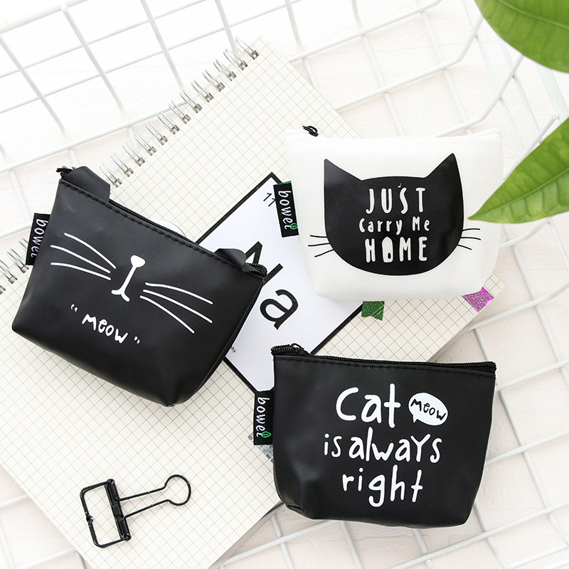 DL Korean Cute Creative Zero Purse Cat PU Key Bag Cartoon Girl With A Small Wallet Stationery Office Supplies For Students