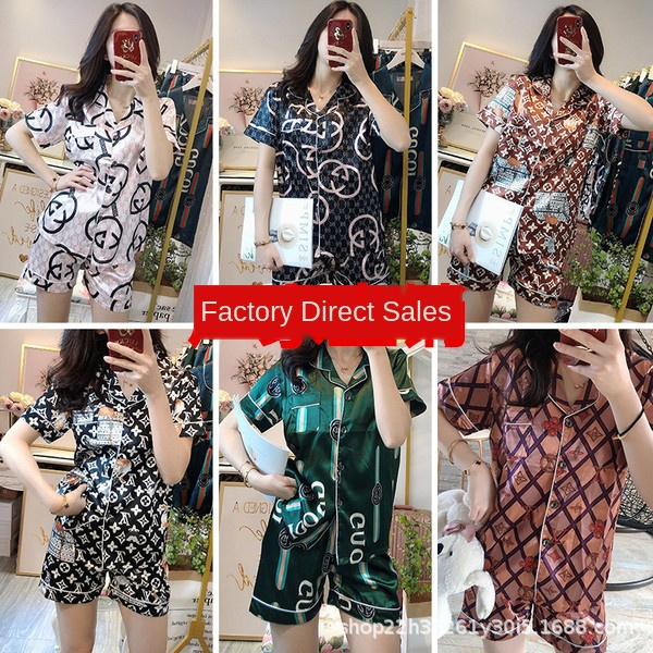 Women Pajamas  Explosion Summer Big Pajamas Female Ice Silk Thin Short-Sleeved Cardigan Silk Suit  Pajama Sets Women