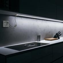 Ac220v plugue da ue alimentado conduziu a luz do armário 1/2/3/4/5/10/15/20 m lâmpada de cozinha para armário armário armário iluminação backlight decoração