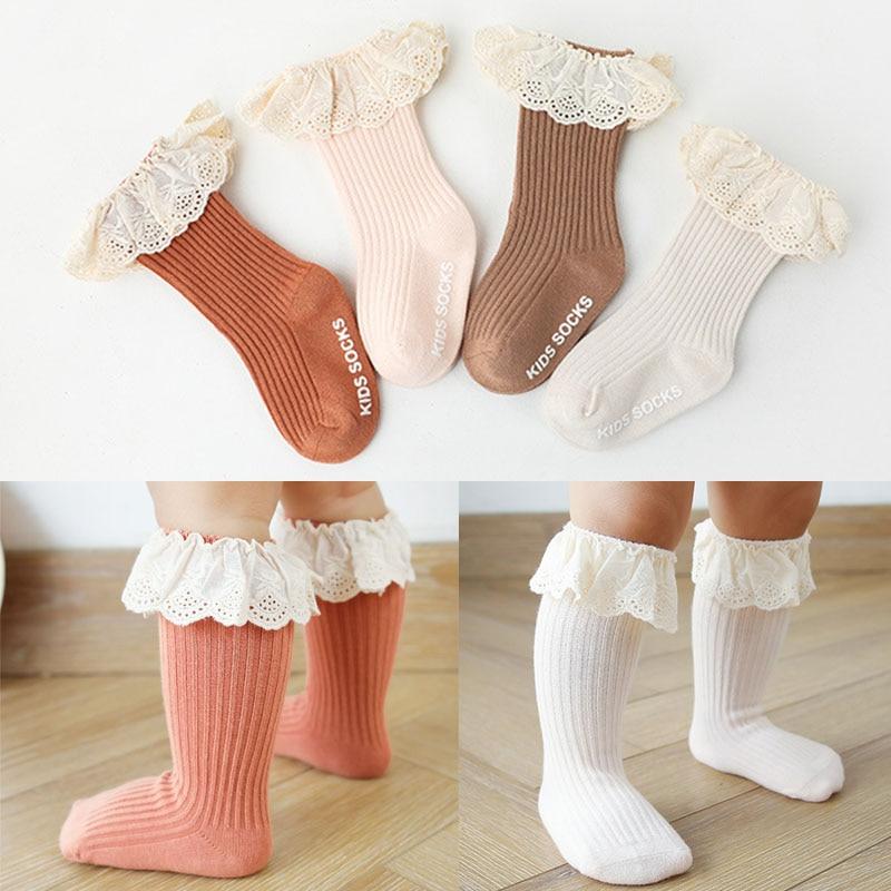 Baby socks New Kids Toddlers Girls  Knee High Long Soft Cotton Lace Baby Children Socks Baby Girl socks 0 to 3 years 1