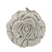 Double Flower Elegant Silver Crystal Women Evening Bags Flower Clutch Minaudiere Wedding Party Purses and Handbags