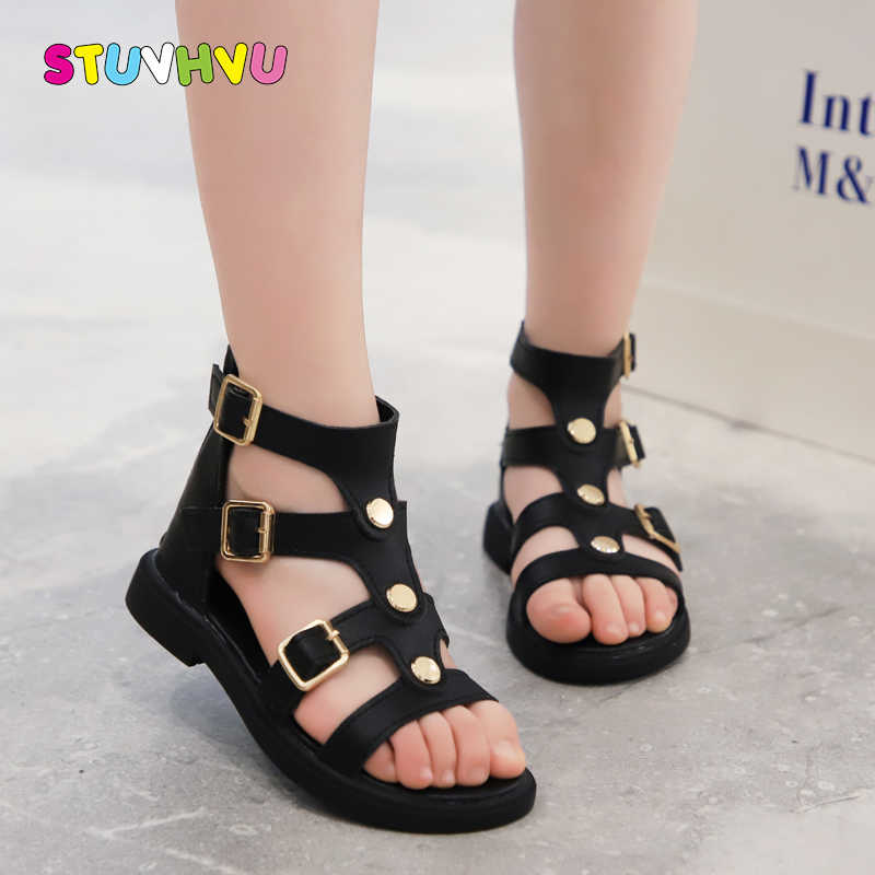 Children's Shoes Girls Sandals 2020 New Fashion Soft Bottom Open Toe Leather Kids Sandals Princess Roman Shoes Little Girl Shoes