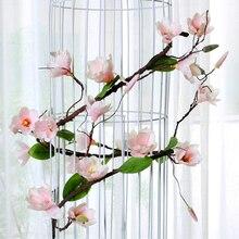 Искусственный цветок растения магнолии лозы искусственный цветок для Свадьбы вечерние украшения дома AC889