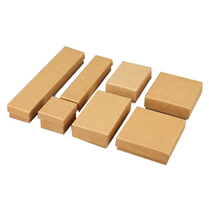 Image 2 - Caixa De Papel Kraft Para Jóias 50 pçs/lote Caixas de Caixas De Jóias Anel Brinco Colar Pingente caixa de Jóias Organizador