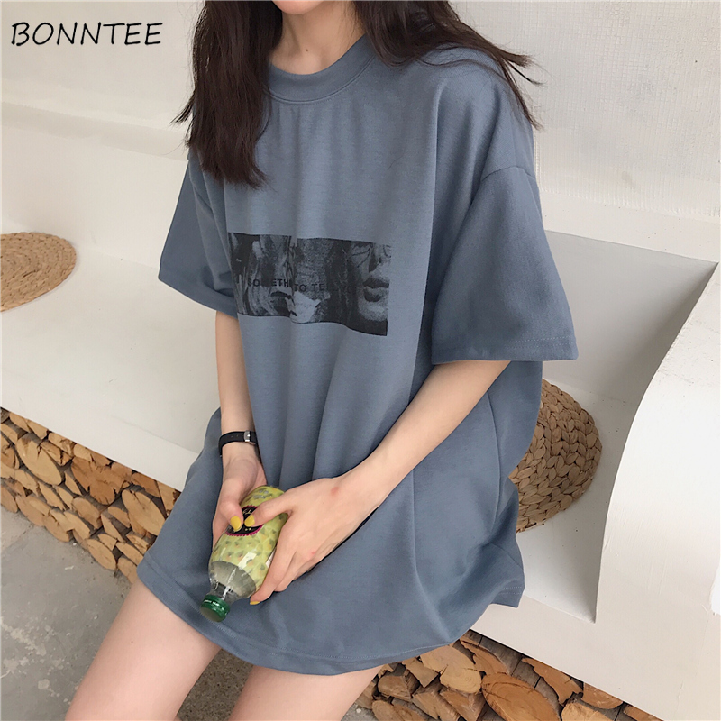 T-shirts Women Printed Korean Style All-match Trendy Simple Womens Daily Short Sleeve High Quality Hot Sale Harajuku 2019 New